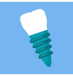 Dental implant design flat icon vector