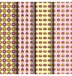 Dessert seamless pattern collection vector