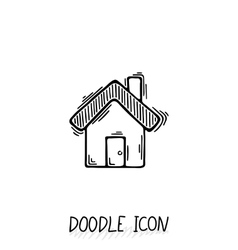 Doodle home icon in retro style vector image