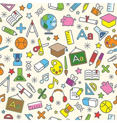 Education icons seamless pattern background vector image