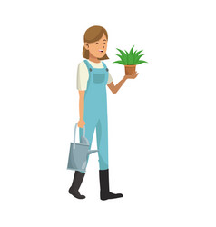 Gardener woman icon vector