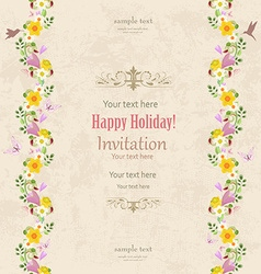 greeting card with vertical seamless borders of vector image vector image