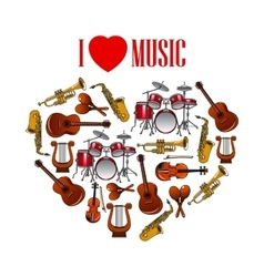 Heart with musical instruments for arts design vector image vector image