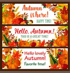 Hello autumn banner set of fall nature season vector