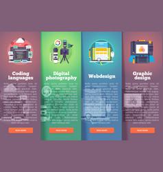 information technology banners set digital vector image vector image