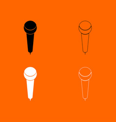 Microphone black and white set icon vector