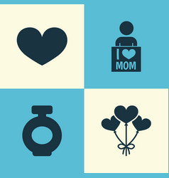 Mothers day icon design concept set of 4 such vector