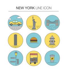 New york line icon set vector