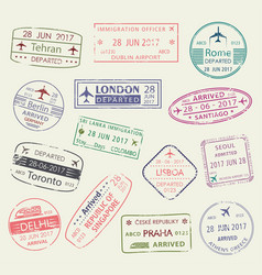 Passport stamp of travel visa isolated set design vector