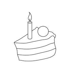 Piece of cake with candle icon outline style vector image vector image