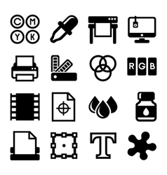 Printing Icons Set on White Background vector image