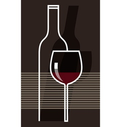 Red wine and glass vector image vector image