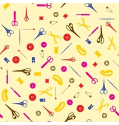 Seamless sewing items background vector image
