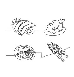 set continuous line drawing food vector image