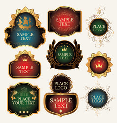 Set of ornate label templates in the baroque style vector