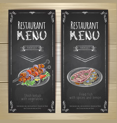 Set of restaurant menu chalk drawing banners vector