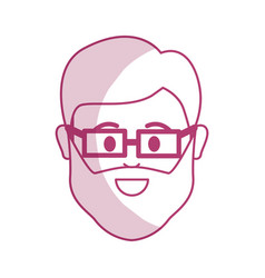 silhouette head man with beard and glasses in the vector image