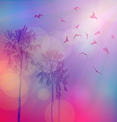 Silhouette of palm trees and birds sky pink vector
