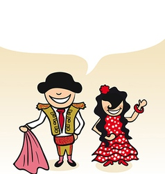 Spanish cartoon couple bubble dialogue vector image