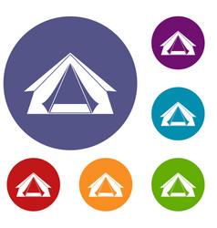 Tourist tent icons set vector