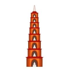 Tran Quoc Pagoda in Hanoi icon cartoon style vector image vector image