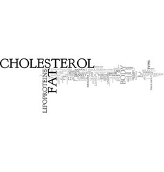 What is cholesterol text word cloud concept vector