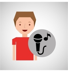 Young boy music concept microphone note vector