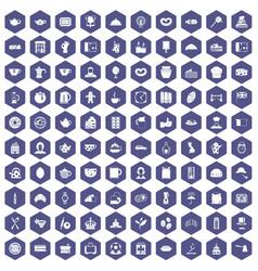100 tea time food icons hexagon purple vector