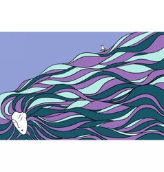 Pretty woman with beautiful long hair vector image