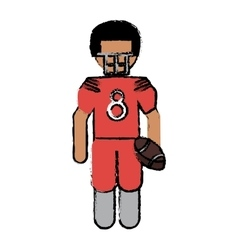 drawing american football player with helmet and vector image