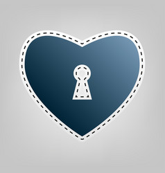 Heart with lock sign  blue icon with vector