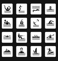 water sport icons set squares vector image