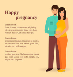 Happy family concept couple of man and pregnant vector