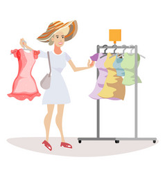 Woman chooses what to wear vector