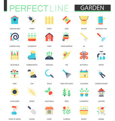 set of flat flower and gardening icons vector image
