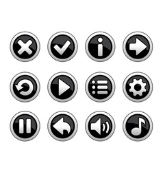 Black and white buttons for game vector