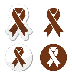 Brown ribbon anti-tobacco symbol awereness vector image
