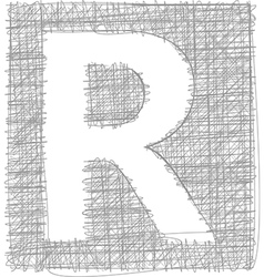 Freehand typography letter r vector