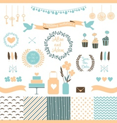 Set of elements for wedding design vector