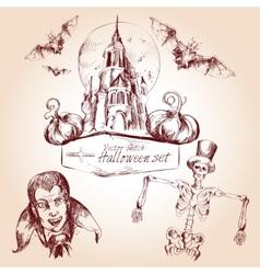 Halloween sketch set vector