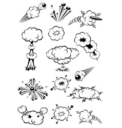 Cartoon black and white explosions vector