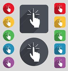 Click here hand icon sign a set of 12 colored vector