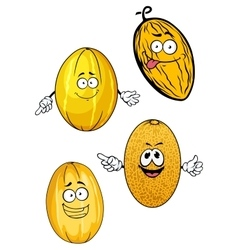 Ripe yellow cartoon melon fruits vector