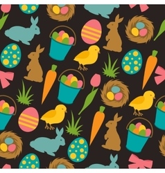 Happy easter seamless pattern with decorative vector
