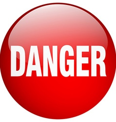 Danger red round gel isolated push button vector