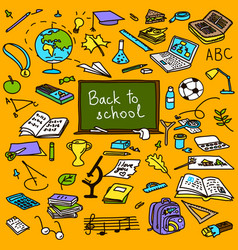 back to school hand drawn colored objects sketch vector image