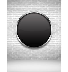 Black round frame on brick wall vector