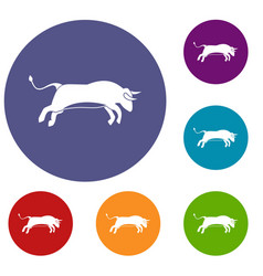 bull icons set vector image
