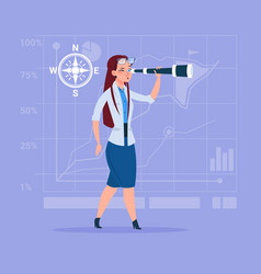 business woman with binoculars successful future vector image