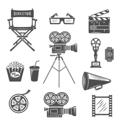 Cinema black white icons set vector